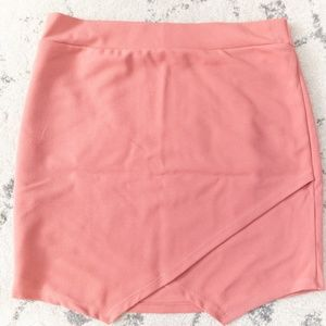Lush S Overlay Pink Salmon Mini Skirt